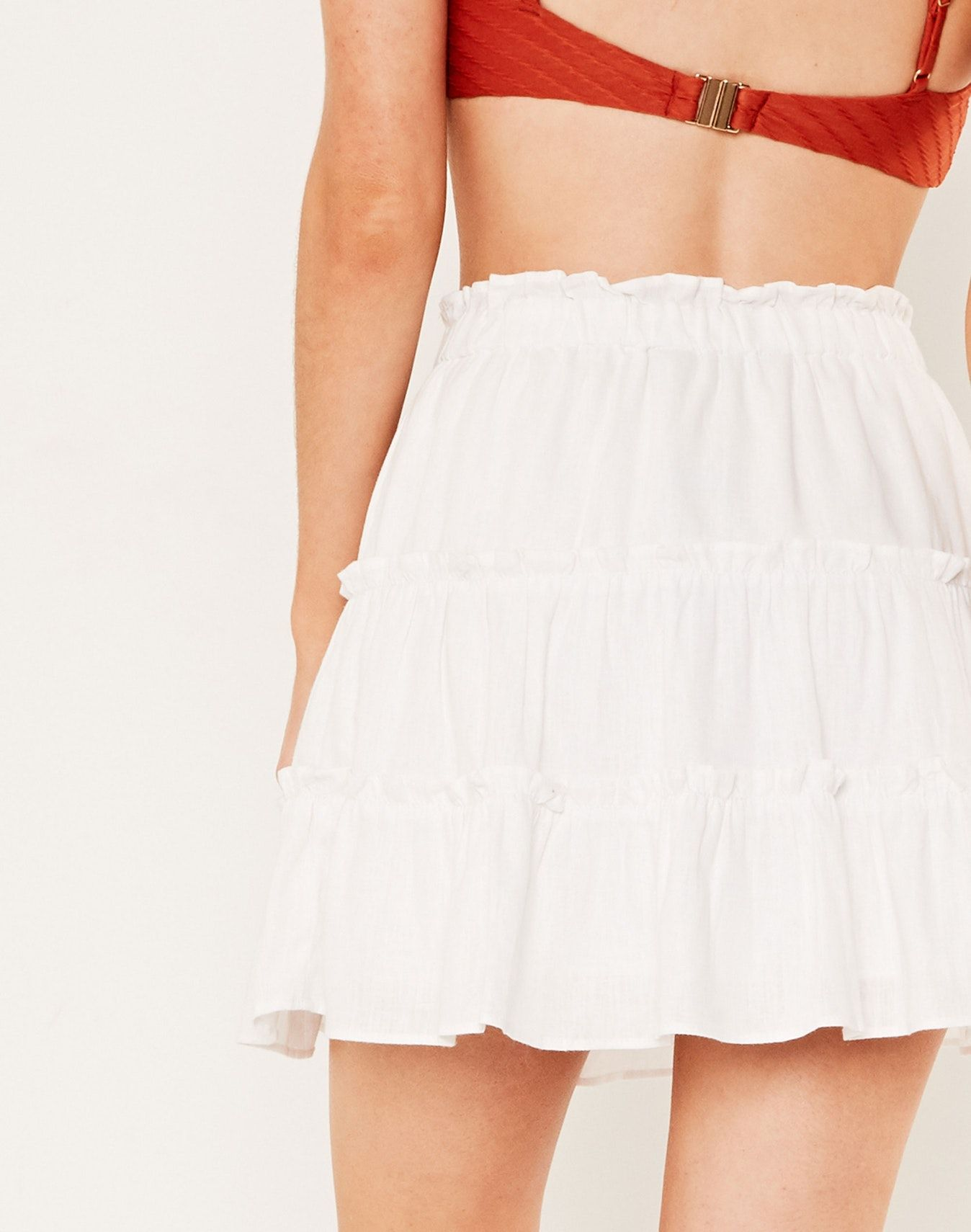 de6a4773bc Linen Blend Tiered Skirt White | Wool, Linen, Leather and Cotton in ...