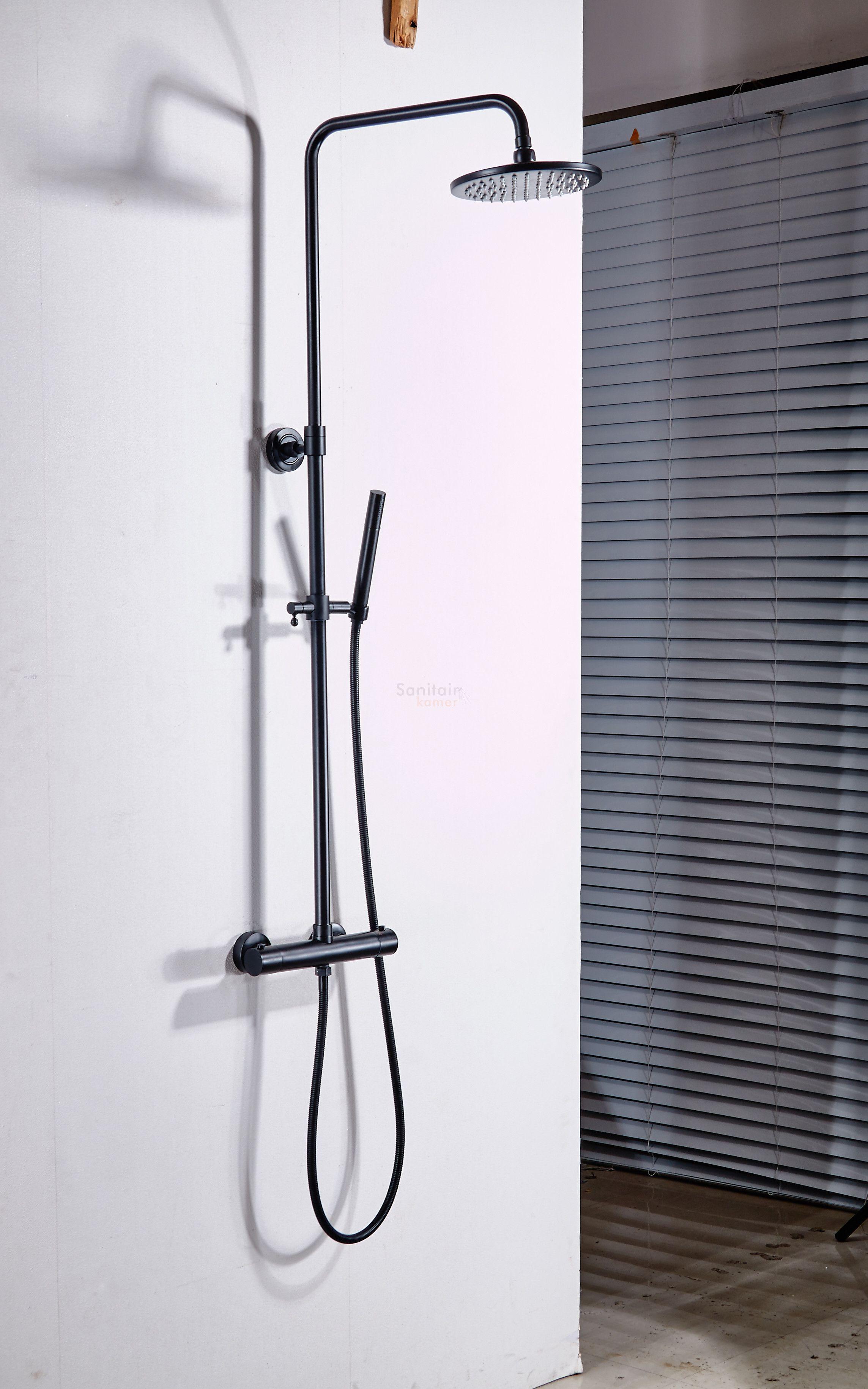 saniclear nero mat zwart opbouw regendouche met thermostaatkraan