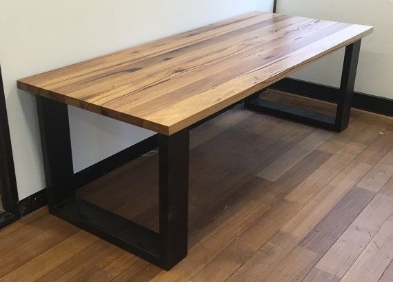 Melbourne reciclado mesa de madera con patas de cuadro moderno ...
