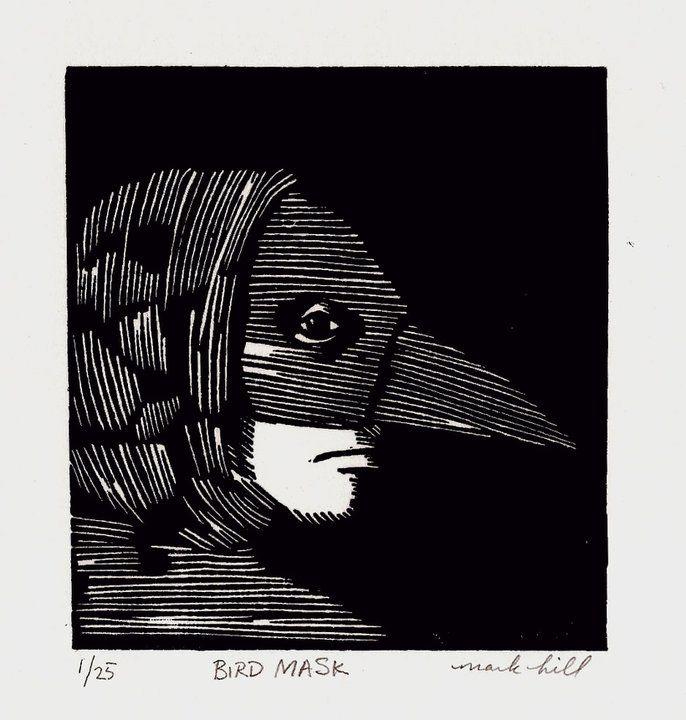 """Mark B Hill, """"Bird Mask,"""" linocut"""