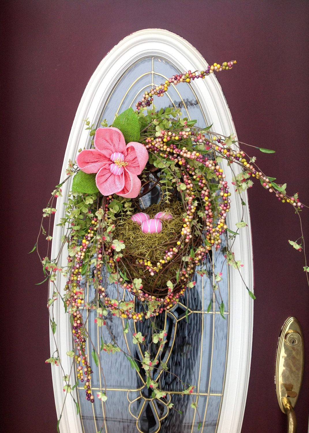 Spring Wreath Easter Wreath Summer Wreath Grapevine Oval Wreath Basket Decor...different flower n eggs