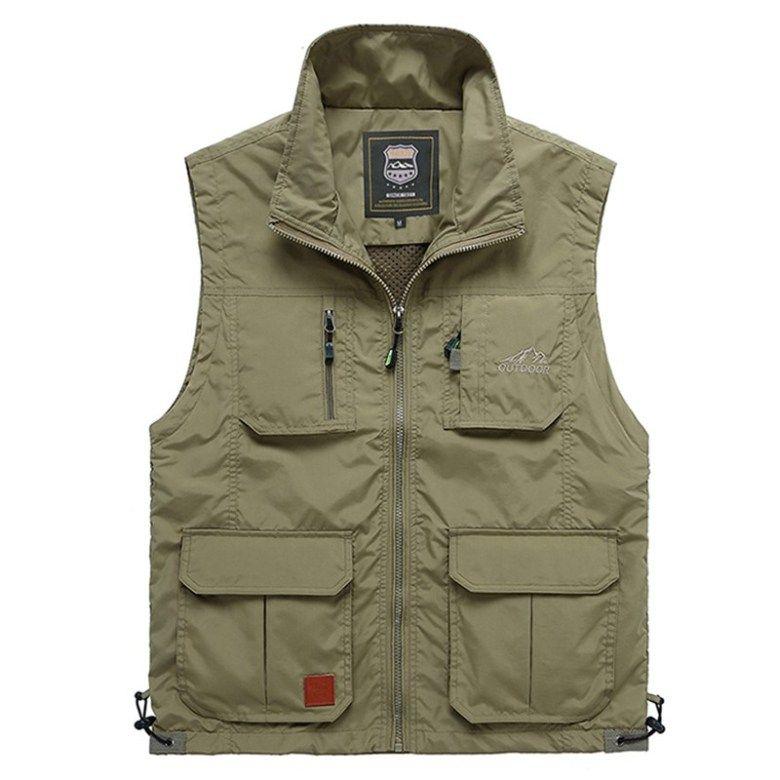 Asibeiul Men Zipper Multi Pocket Sleeveless Vest Blouse Top Jacket Coat British Suit Solid Casual Outdoor Photography Fishing L, Dark Gray