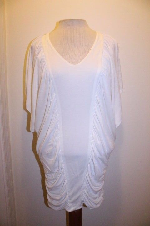 New York & Company Top S White Draped Batwing Dolman Sleeve Fitted Tunic Blouse #NewYorkCompany #Blouse #CasualDateEvent