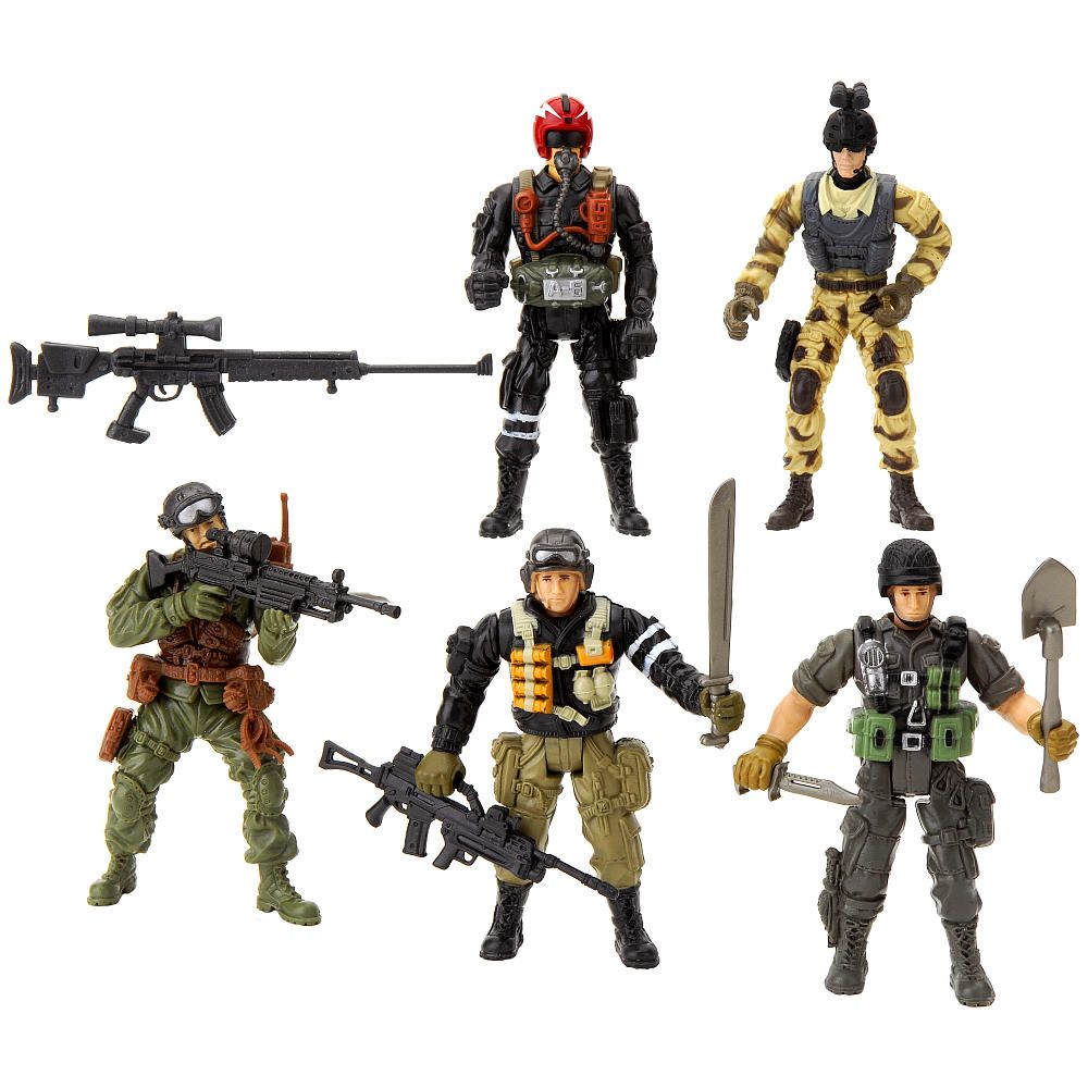 True Heroes 4 Inch Military Soldiers 5 Pack Action Figures Colors