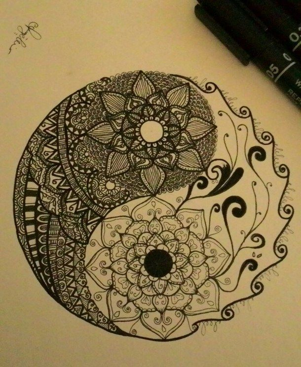 art, design, doodle, flower, mandala, yinyang, zentangle, First Set ·  Tatouage De FleursTatouage