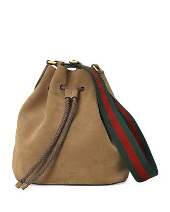 0314cad502cc Linea+B+Medium+Drawstring+Suede+Bucket+Bag,+Taupe+by+Gucci+at+Neiman+Marcus.