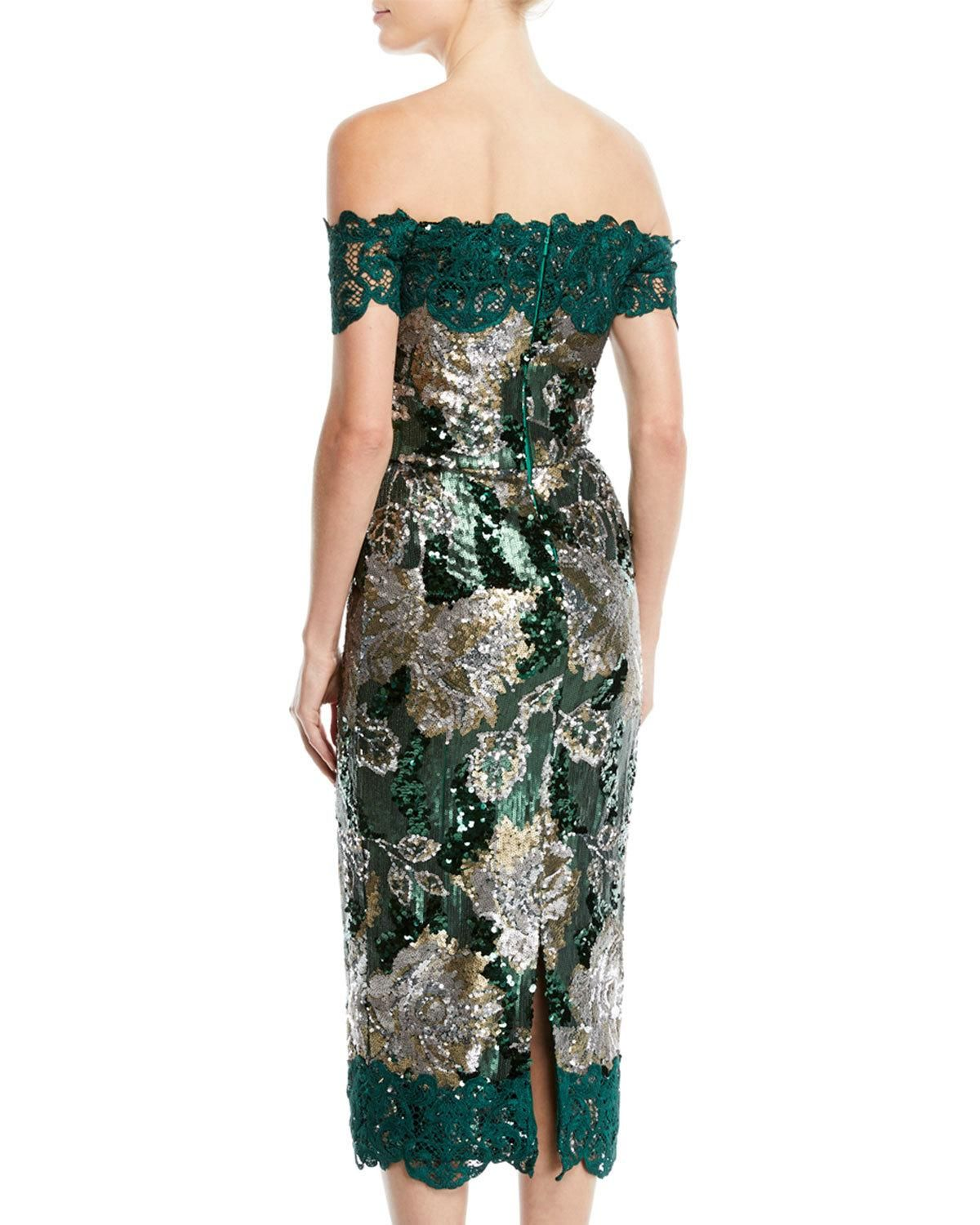 a514a8515c Marchesa Notte Off-the-Shoulder Sequined Peony Cocktail Dress with Guipure  Lace Trim