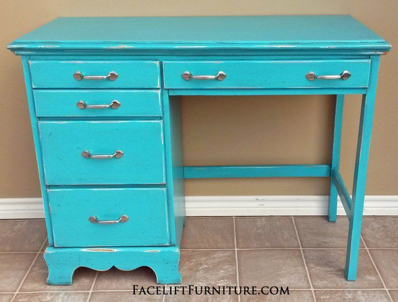 Merveilleux Distressed Turquoise Desk With Black Glaze. New Brushed Silver Pulls. From  Facelift Furnitureu0027s Desk