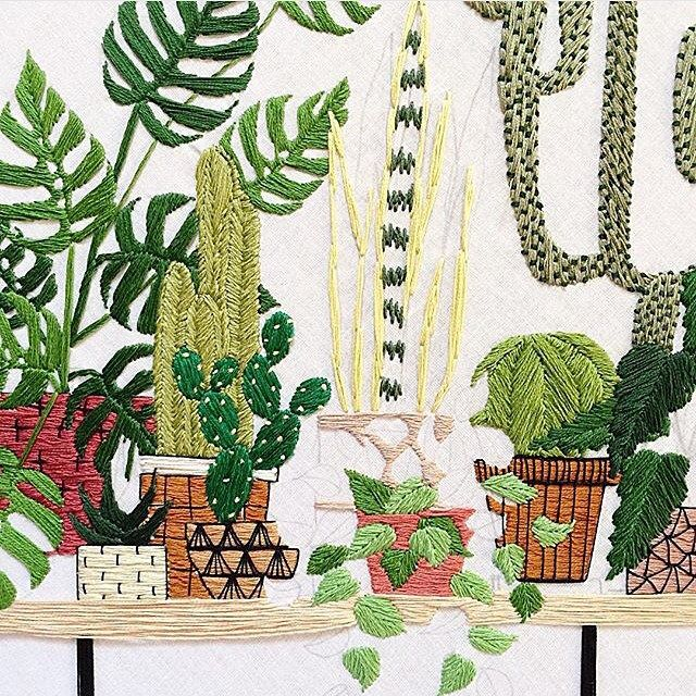 Cactus embroidery sarahkbenning closeup felt