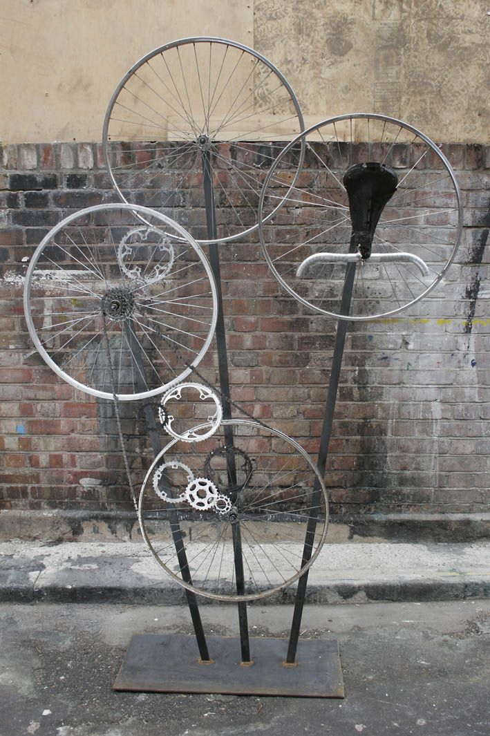 As Series Of Sculptural Installations Made From Bicycle Parts To