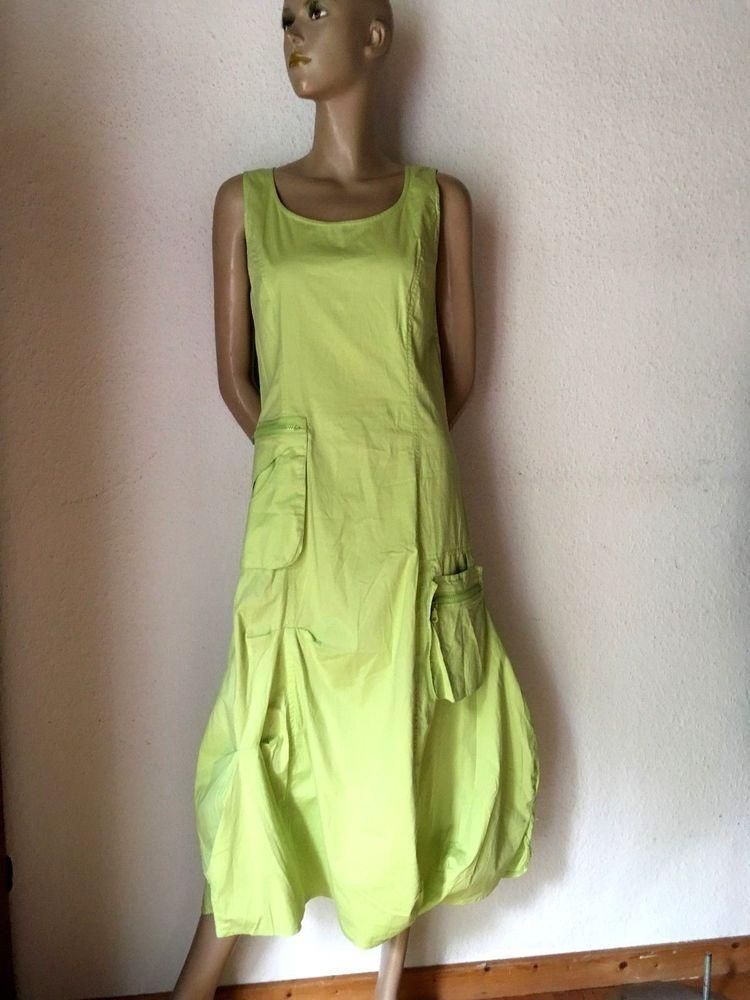 Ballonkleid Lagenlook Kleid Maxikleid Baumwolle Elastan Apfelgrun 40 42 Clothes Fashion Womens Shorts
