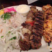 Skaf's Lebanese Cuisine - Glendale, CA, United States. Combo plate! Shish kebob, chicken and steak