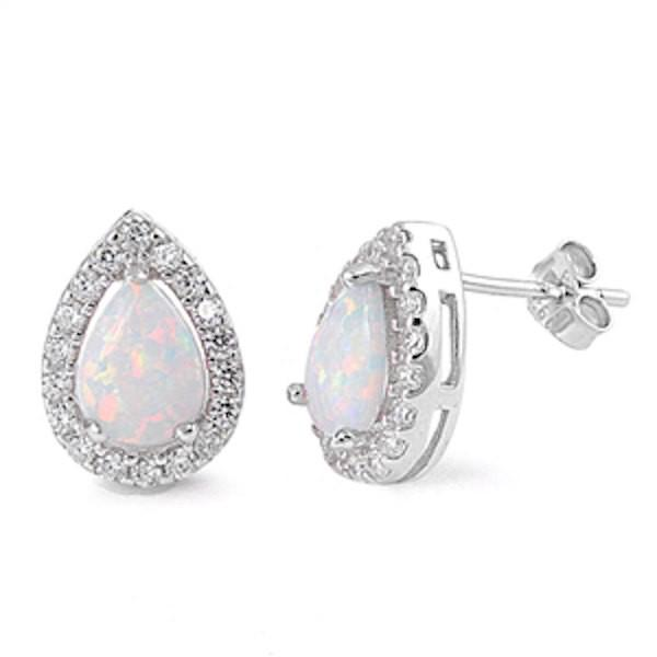 Round White Opal Studs with CZ HaloSterling SilverSimulated Opal