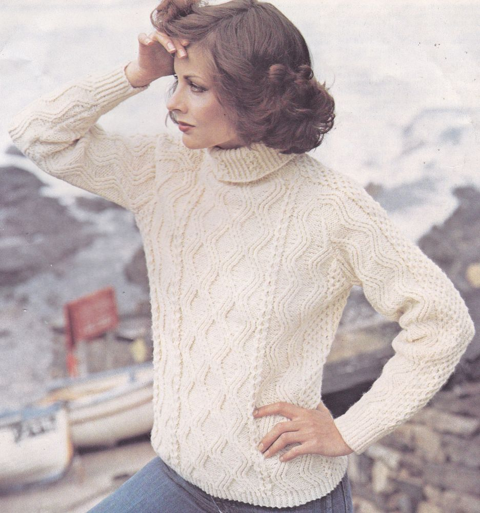 Vintage Knitting Pattern Instructions to Make a Ladies Polo Neck ...