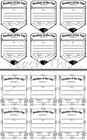 student of the day award printable classroom student awards and
