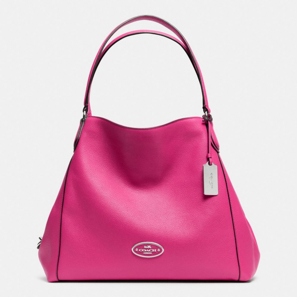 The Edie Shoulder Bag In Leather from Coach My October bag to support Breast Cancer Awareness Love the turn lock this is a plus