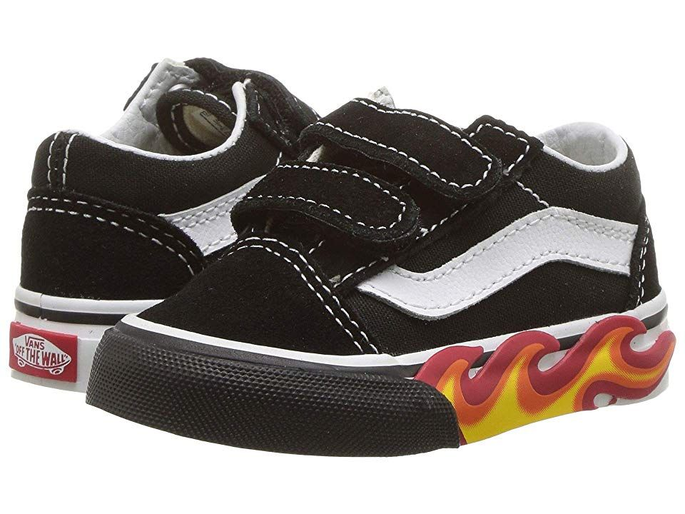 29a0ed6a0b Vans Kids Old Skool V (Infant Toddler) ((Flame Cut Out) Black True ...