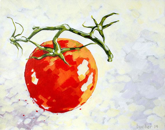 Happy and Vine-ripened - Tomato Acrylic Painting