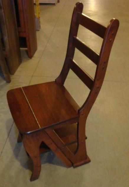 Step Stool Chair Combo Library Step Ladder Antique