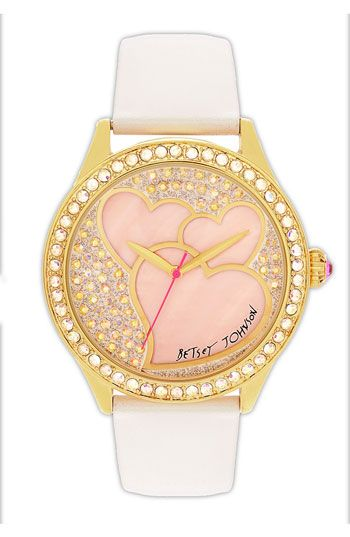 Betsey Johnson Heart Dial Leather Strap Watch GORG