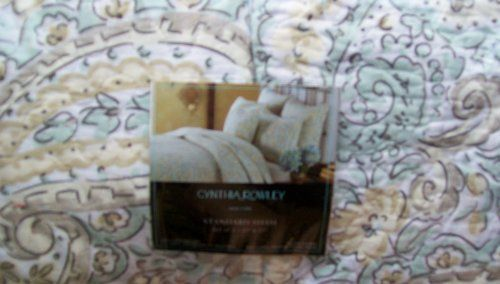 Cynthia Rowley Two Paisley Print Quilted Standard Pillow Shams In Shades Of Seafoam Green, Pale Yellow, Taupe & White Cynthia Rowley,http://www.amazon.com/dp/B00FEI0FZS/ref=cm_sw_r_pi_dp_zkXtsb0QDWT68KZX