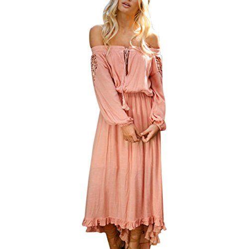 b89188720169 Elecenty Sommerkleid DamenReizvolle Schulterfrei Patchwork Kleider ...