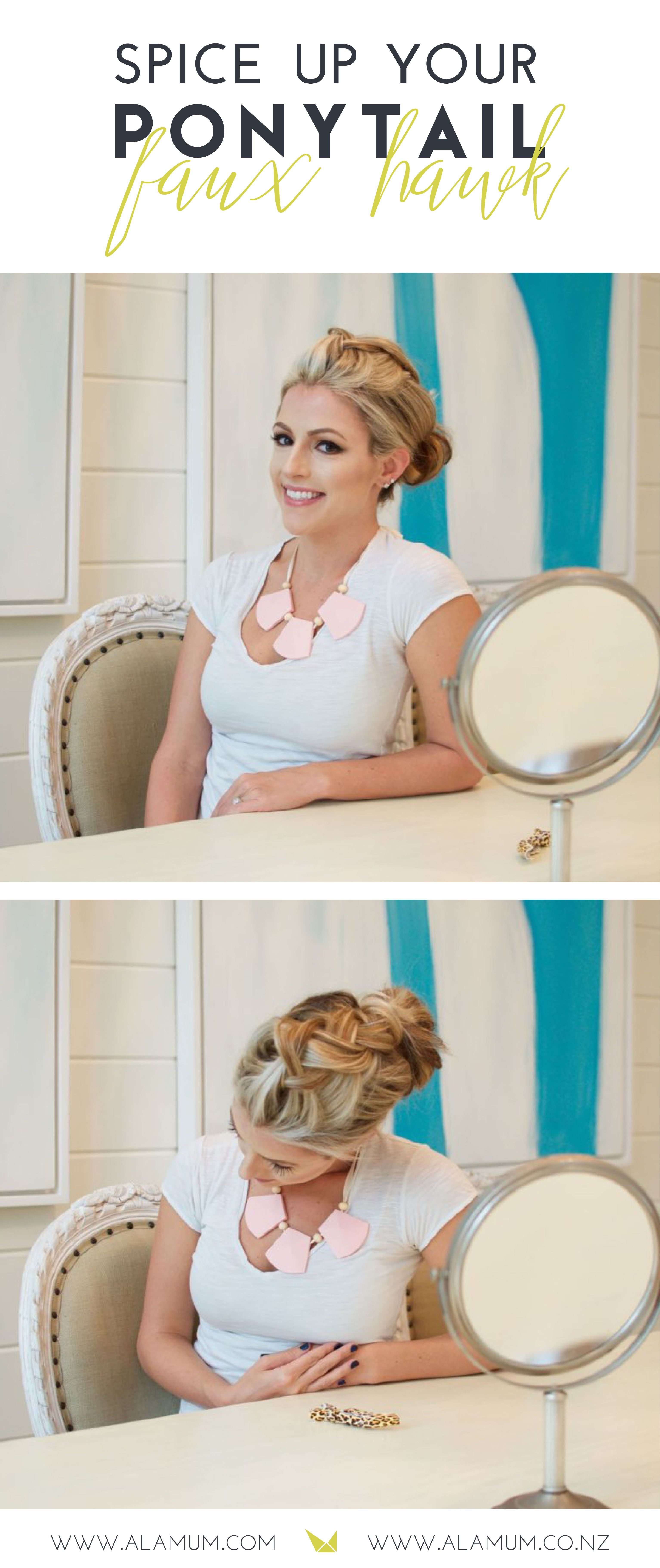 Do you need a new way to up your ponytail game? This is the absolute easiest way to spice up your ponytail! This hair tutorial takes less than 5 minutes and is so great for any occasion! | www.alamum.com | www.alamum.co.nz |