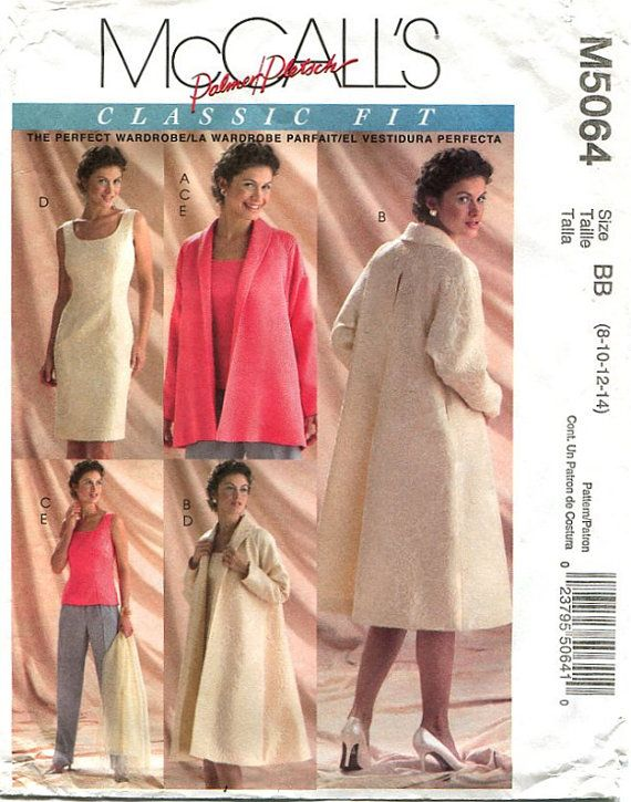 McCalls 5064 Misses Swing Jacket or Coat / Sheath Dress / Top and ...