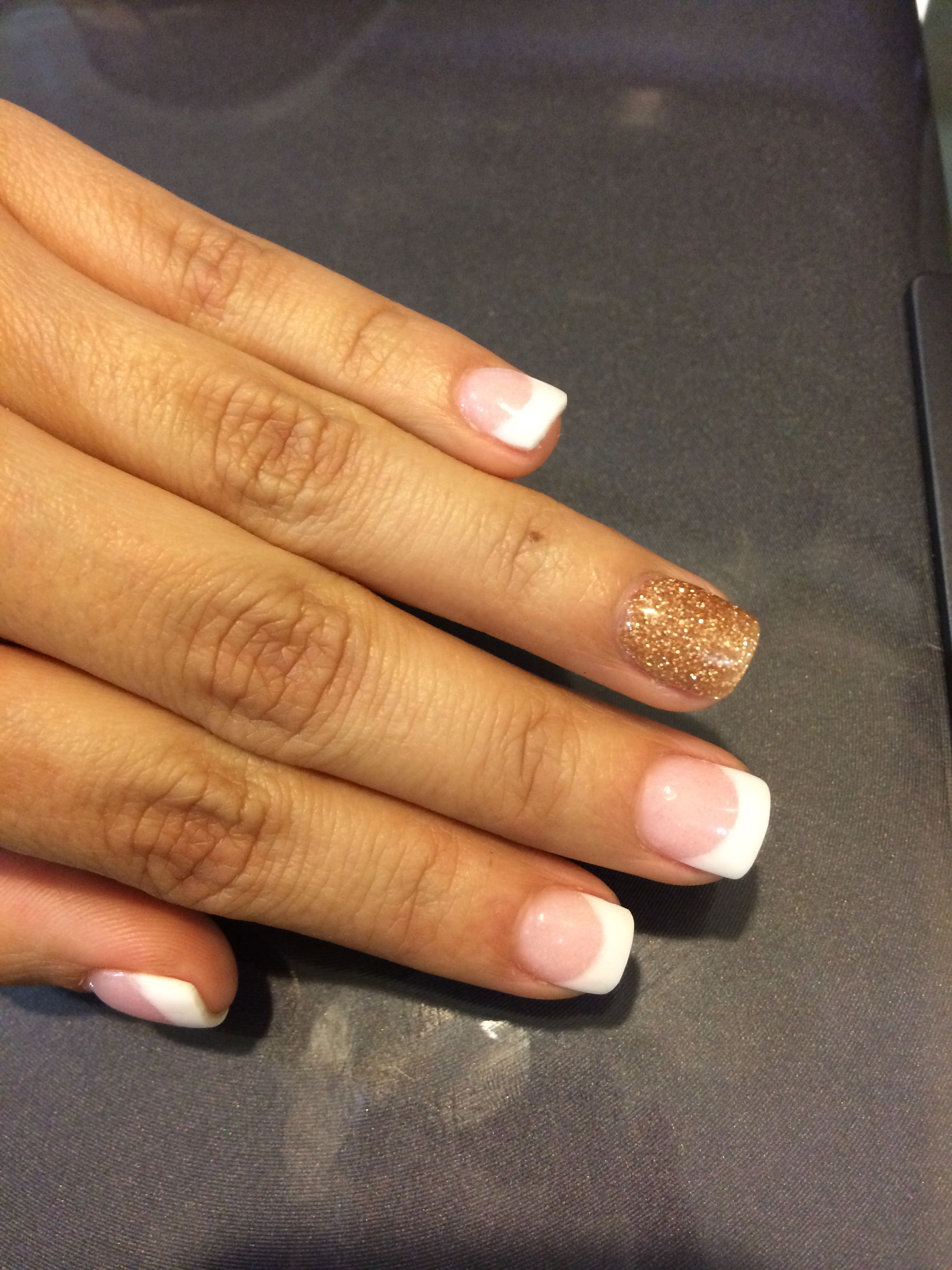 NexGen nails French and gold accent nail. Check out my nexgen nail ...