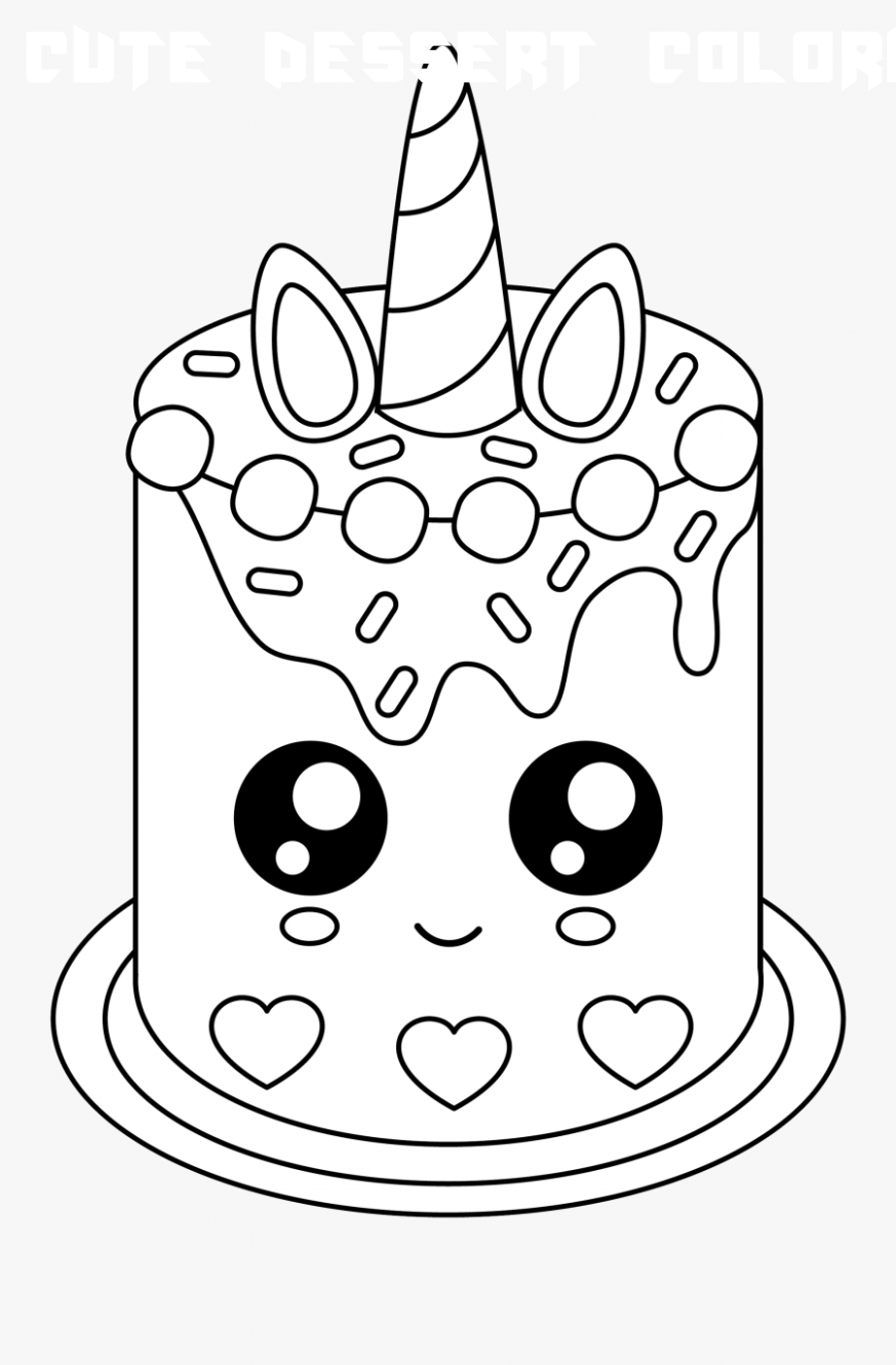 24 Cute Dessert Coloring Pages  Unicorn coloring pages, Birthday