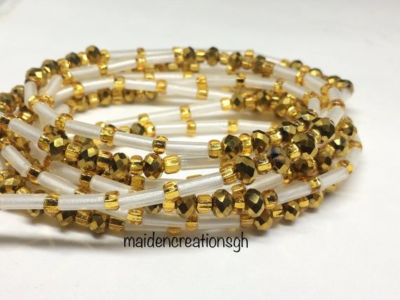 Glass beads African Beads GOLD African Waist Beads Toma Beads MATTE GRAY 43 : Seed Beads