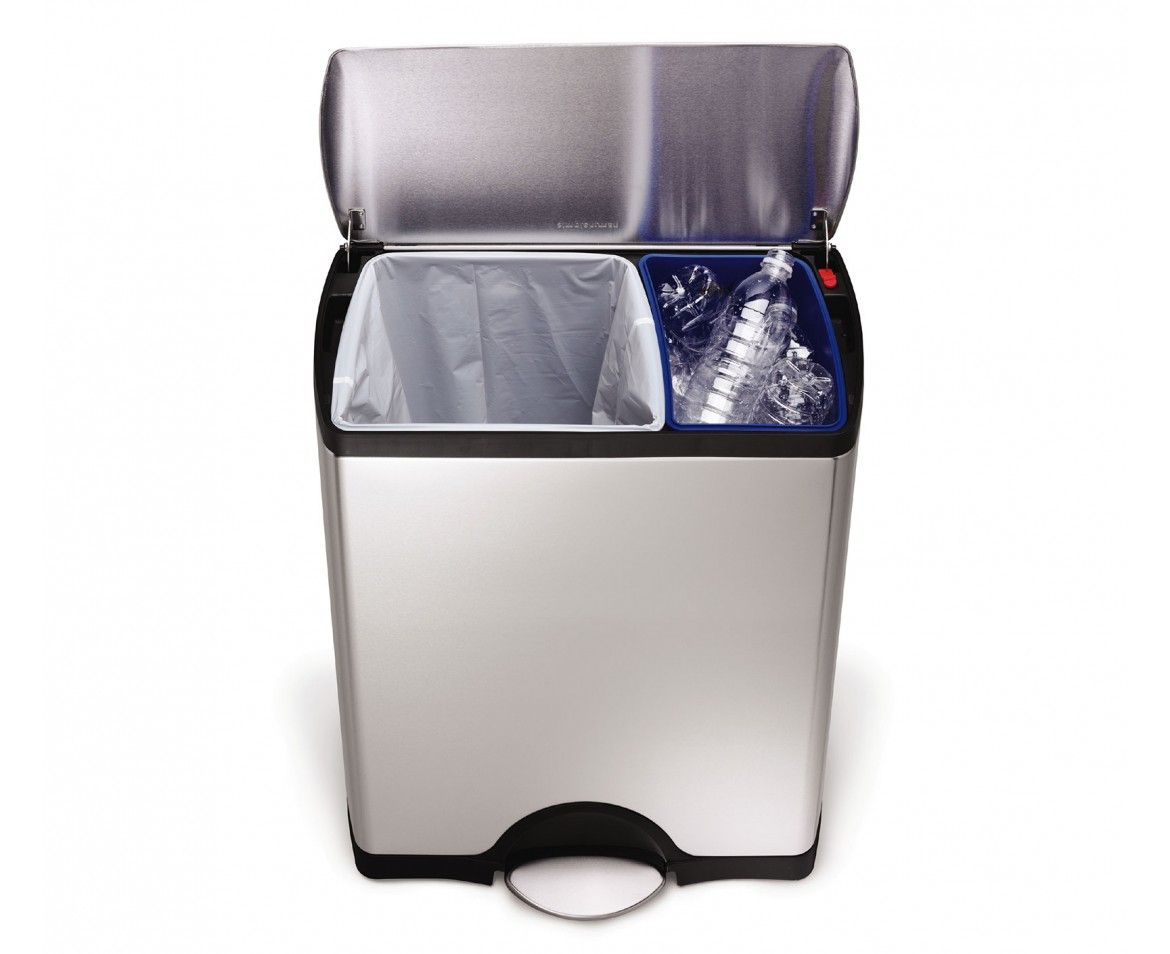 Simplehuman 46 Liter Brushed Stainless Steel Dual Recycler Step Trash Can Recycling Binsrecycle