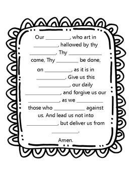 Our Father Prayer worksheet for CCD, Sunday School, and