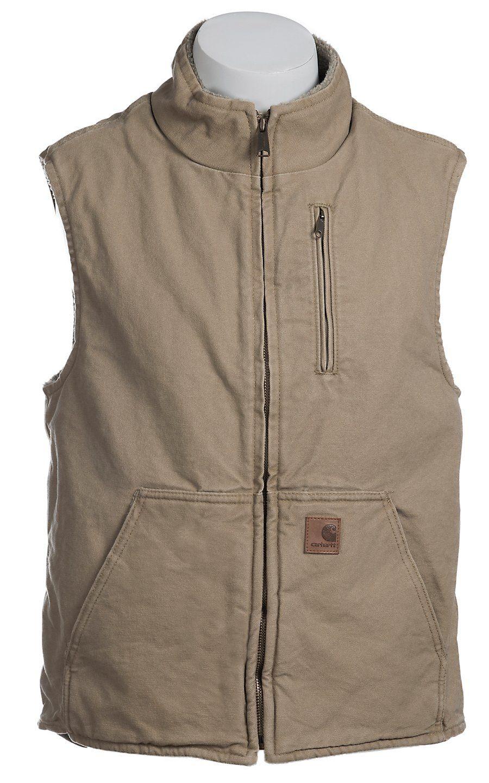 e674ad04350b Carhartt® Cottonwood Sandstone Lined Mock-Neck Vest