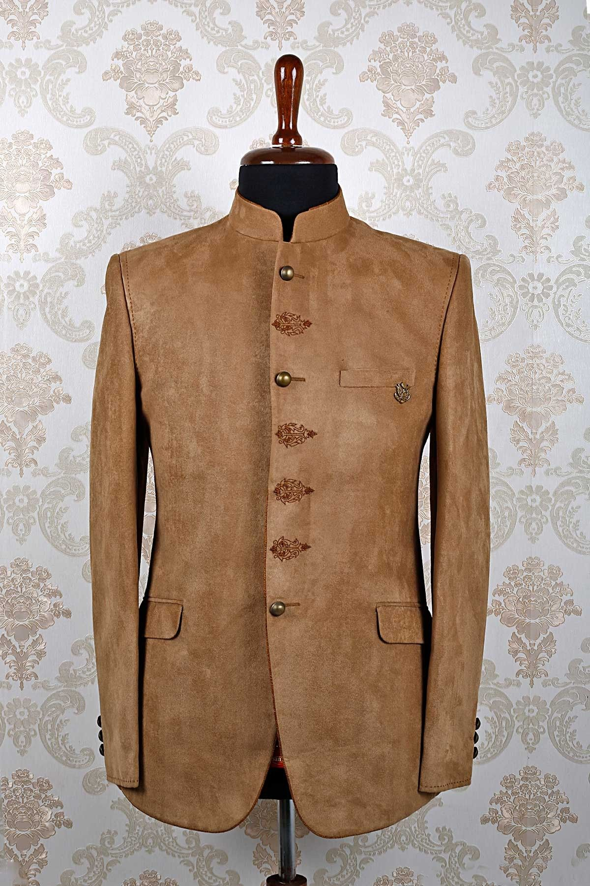 Mandarin collar flannel  Light brown italian dashing slim fit suit with mandarin collar