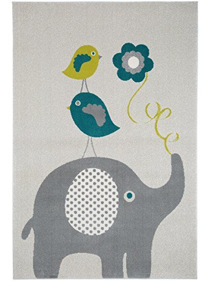 benuta Birdies and Elephant Kids Rug Blue 80x150 cm (2ft7 - design küchen günstig