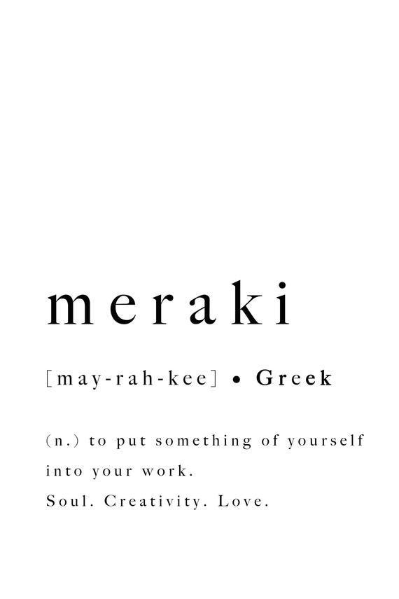 Meraki Greek Quote Print Soul Creativity Love Poster Art Definition Type Artwork Typography Wall Decor Modern Downloadable