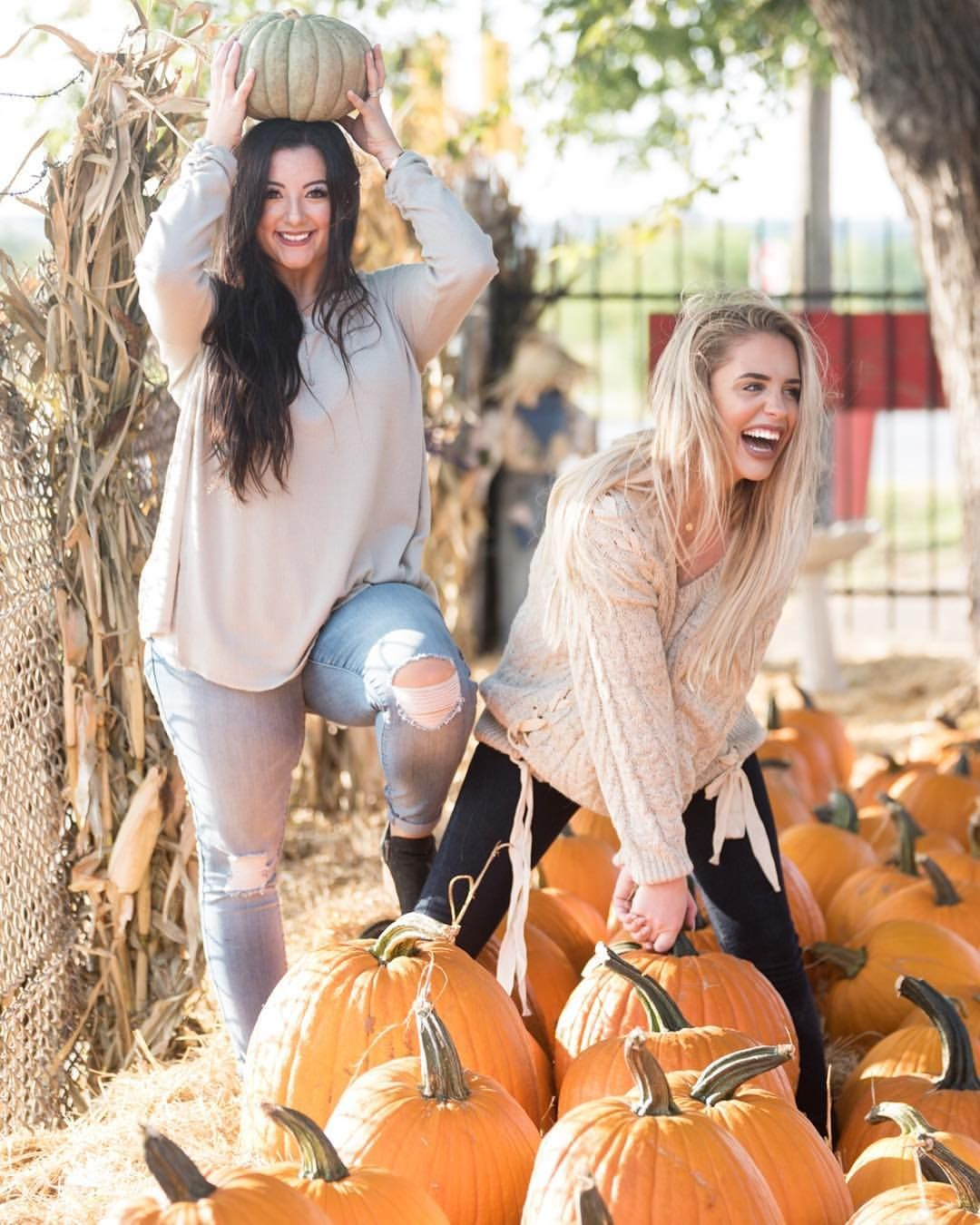 Best Friends At A Pumpkin Patch For Fall Photoshoot