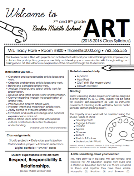 Art Class Syllabus For K 12 Students The Art Of Education University Art Lessons Middle School Art Syllabus Art Classroom Management