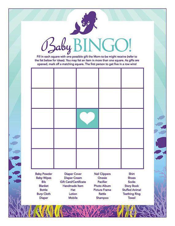 Instant Download Little Mermaid Baby Shower Games Pack Purple