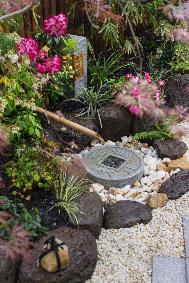ideen deko kleiner japanischer garten brunnen steine #garden #ideas ...