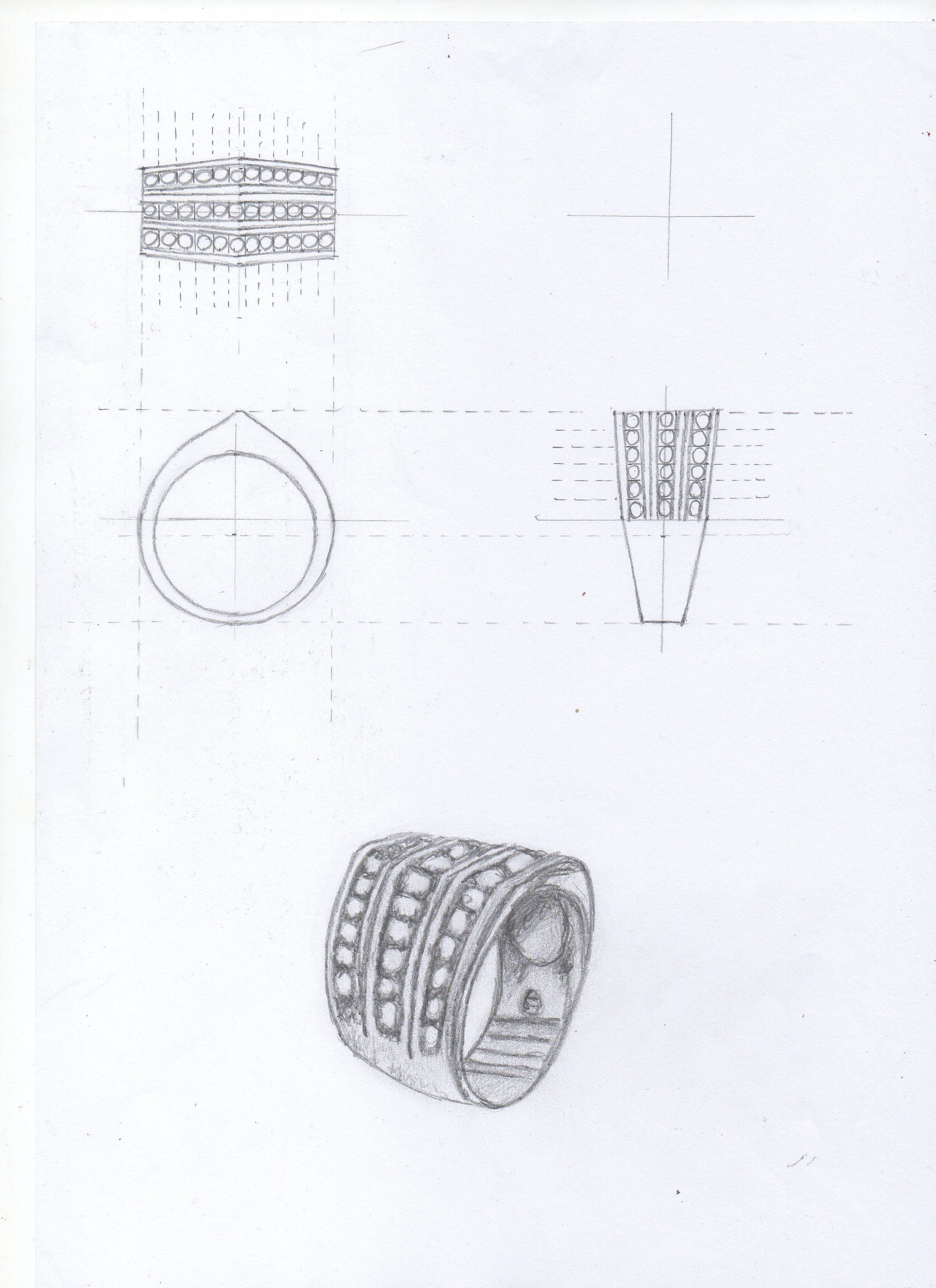 Dibujo Analitico Y Descriptivo Del Mismo Anillo Anillo Dibujo Diseno De Joyas Dibujo Analitico