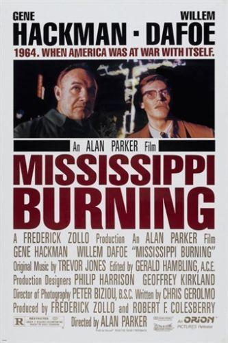 Alan Parkers Mississippi Burning Movie Poster 1988 Hackman Dafoe