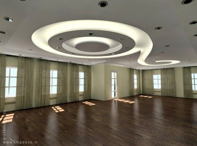 Gypsum false ceiling design with led lights for open rooms for Modern office ceiling design ideas