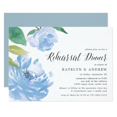 Something Blue | Rehearsal Dinner Invitation | Zazzle.com #bluepeonies