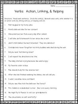 Verbs Craftivity: Action Verbs, Linking Verbs, and Helping ...