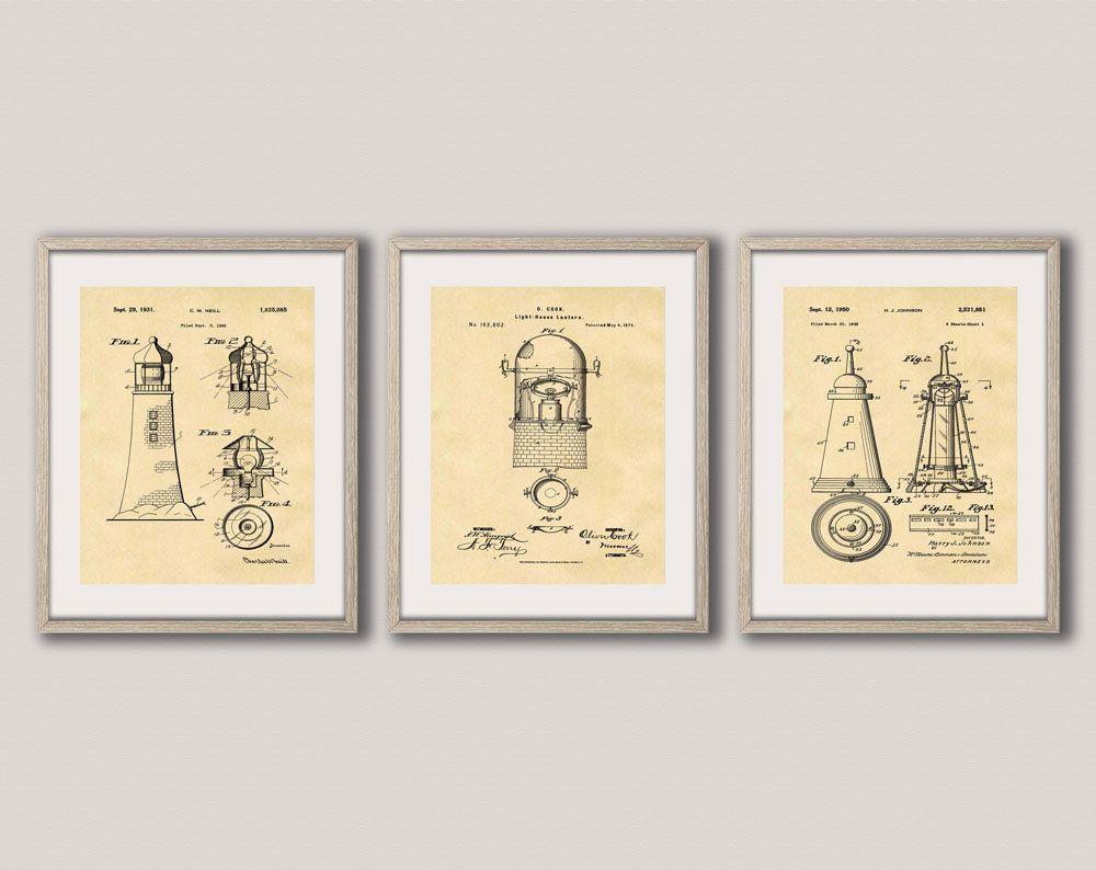Lighthouse Decor Lighthouse Patent Print Set of 3 Nautical Themed ...