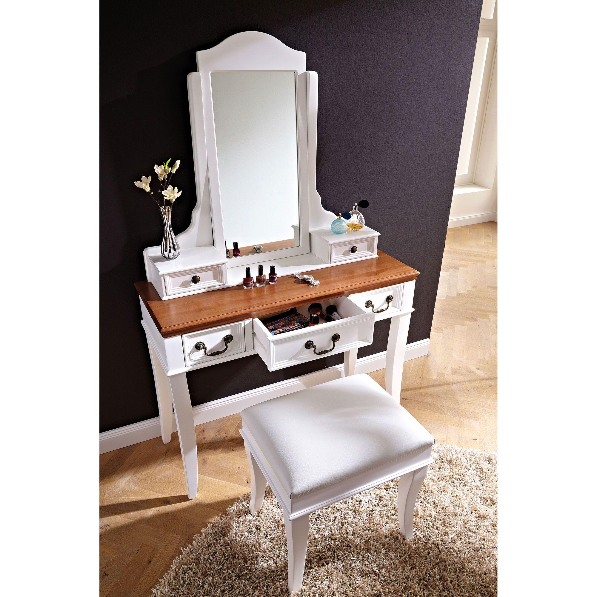 Coiffeuse bois miroir inclinable tabouret j for Coquetas muebles dormitorio