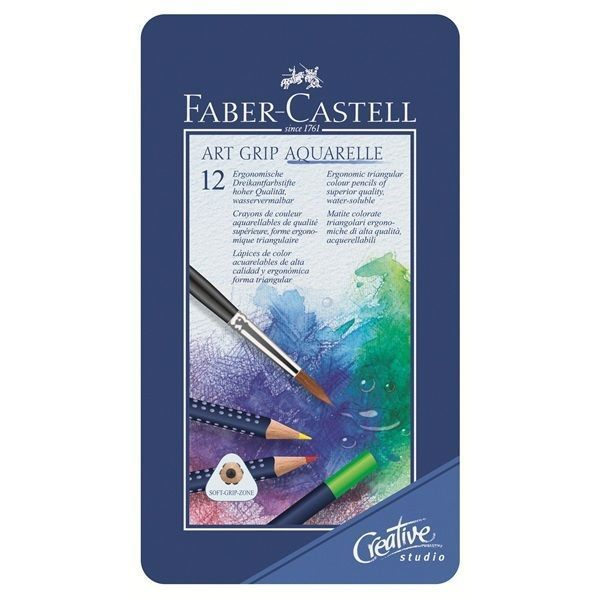 Faber Castell Watercolour Pencil Art Grip Aquarelle Tin Of 12