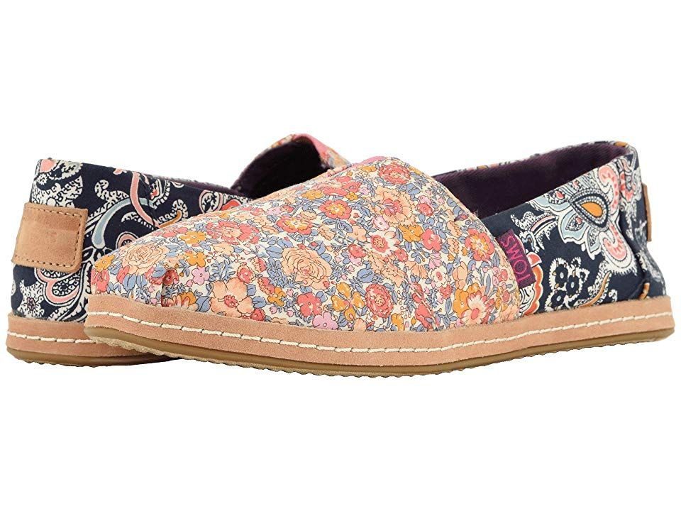 TOMS Alpargata Navy Mosaic Red Floral Linen Womens Shoes With every pair of shoes you purchase TOMS will give a new pair of shoes to a child in need One for One The TOMS...
